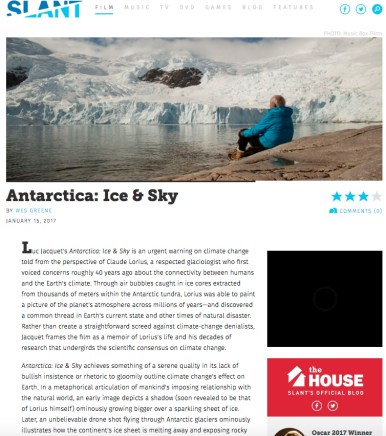 Slant Magazine; film review, Antarctica Ice & Sky