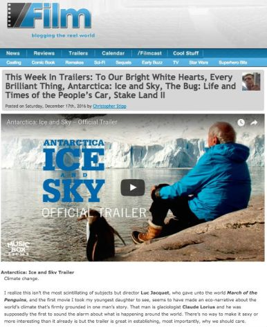 SlashFilm, trailer coverage, Antarctica Ice & Sky