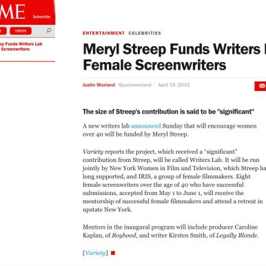 Feature story placed in Time Magazine announcing The Writers Lab