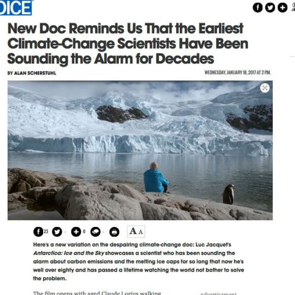 The Village Voice; film review, Antarctica Ice & Sky