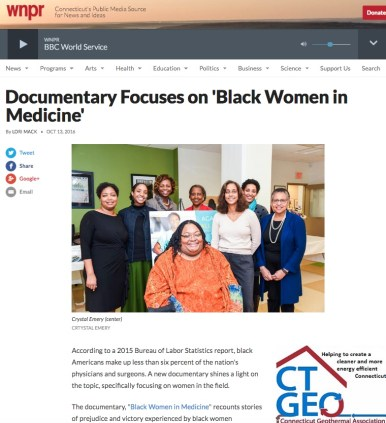 WNPR; radio guest interview with Crystal R. Emery, Director of Black Women in Medicine