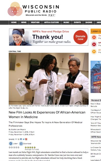 Wisconsin Public Radio; feature coverage of Black Women in Medicine