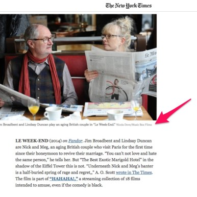 """Le Weekend"" in The New York Times"