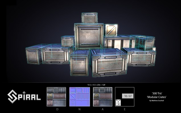 This is an example of the modular creates, this was set up to easily create multiple crates and containers quickly, these can be found through out spiral but mainly in Chapter 3 - warehouse level.
