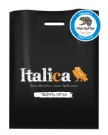 Черный пакет из ПВД в 70 мкм размером 36*45 см с логотипом магазина декора Italica