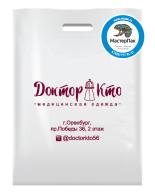 Брендированный пакет из ПВД в 70 мкм размером 36*45 см с логотипом магазина профессиональной одежды Доктор Кто