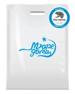 Брендированный пакет из ПВД в 70 мкм размером 36*45 см с логотипом магазина бассейнов Море дома