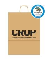 Пакет крафтовый, 24*11*32, 78 гр., крученые ручки с логотипом CROP