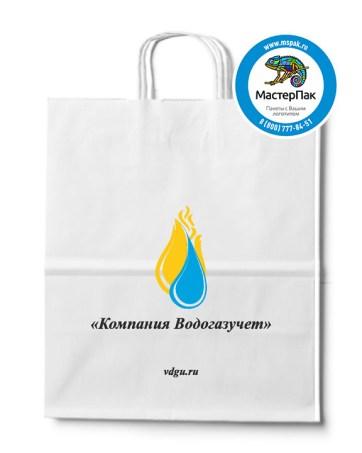 Пакет крафтовый с логотипом Компания Водогазучет, крученые ручки, 32*18*37, Москва, 80 гр.