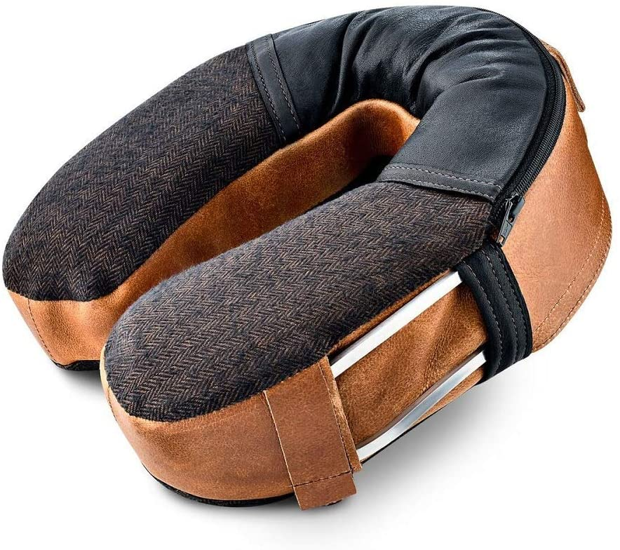 physician designed leather neck pillow