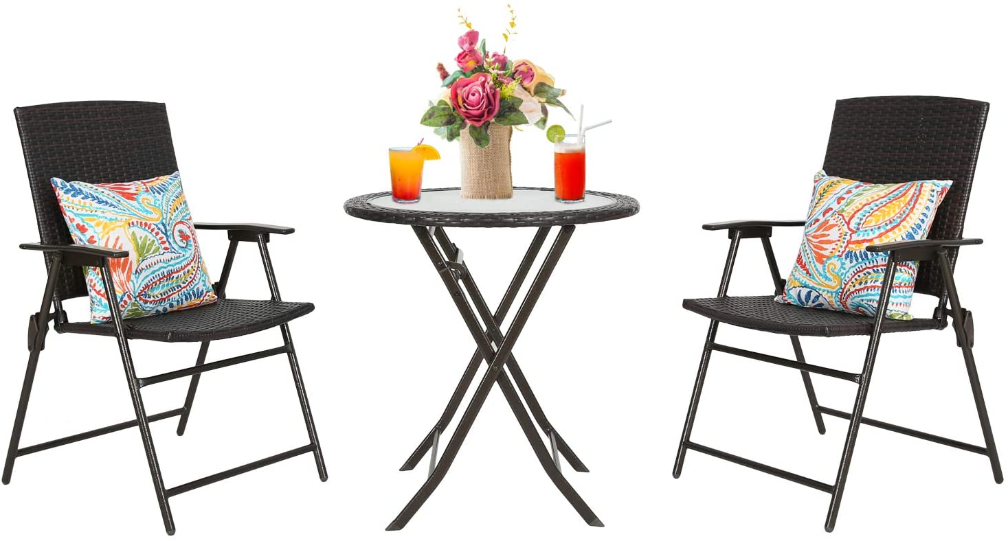patio rattan steel folding bistro set all weather resistant wicker 3 pcs set of foldable garden table with top glass and chairs with arms