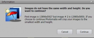 Because all my 3 exposures had different sizes this message pops up