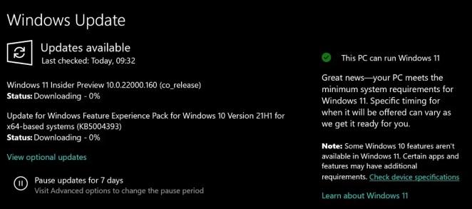 Bilgisayarınız Windows 11'i destekliyorsa Windows 10 21H2 şimdi sizi Windows Update aracılığıyla bilgilendirecek 13