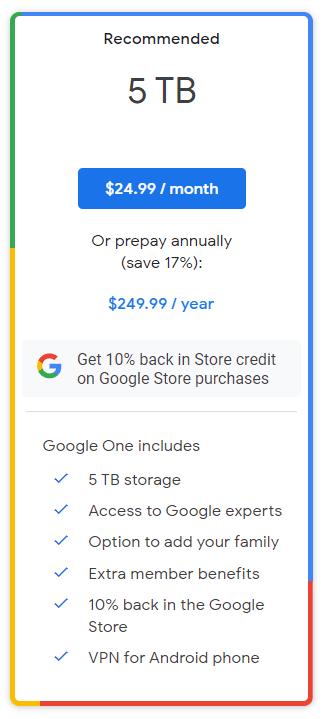Yeni Google One planı 5 TB depolama alanı sunuyor 13