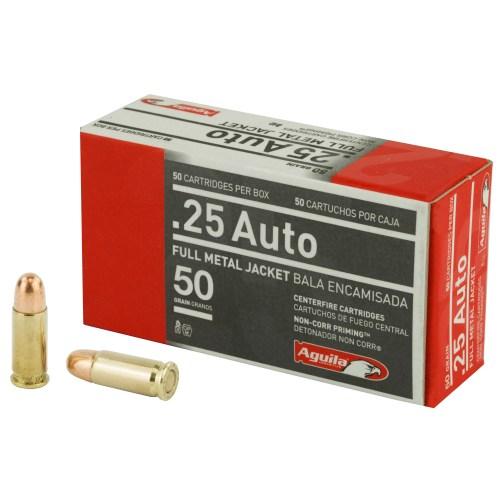 Aguila Ammunition 25ACP 50GR FMJ 50 Round Box - MSR Arms