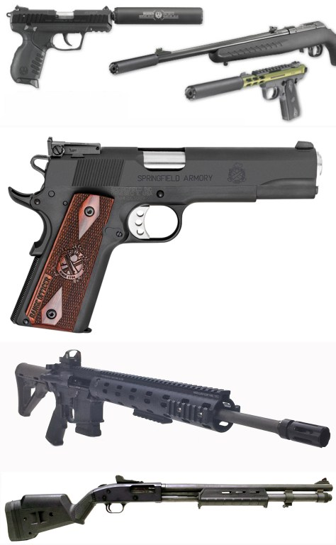 MSS isn't recommending any particular brand or models here, just a suitable collection of five should-have firearms. Top, Ruger makes several rimfire rifles and handguns that can make this list, including the SR22 pistol, the 10/22 rifle, and the 22/45 pistol. The company is also selling suppressors for them now as well. Cans are handy, but optional, on our list. Second from top is a suitable self-defense sidearm, this one being Springfield Armory's 1911 Range Officer Pl9129LP chambered in 9mm Luger. Below that is a semi-auto self-defense rifle; this one is a Daniel Defense DDM4V7LW chambered in 5.56 NATO. And rounding out our list is, bottom, a Mossberg 590 Magpul 50669 Pump 12 Gauge. What does your list include?