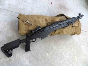 The Springfield Armory SOCOM 16 Model AA9611PK is a semiautomatic long-stroke piston design. It had a 16.25-inch barrel with 1:11-inch twist. Overall, it measured 35.5 to 38.5 inches in length and weighed 9.3 pounds empty.