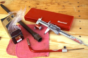 Here's a Hornady LNL OAL Gauge, along with the Hornady LNL Bullet Comparator. Midsouth has them. This appliance combination works along with a caliper and lets you determine the seating depth that touches the lands, and then gives a better way to measure and record it. Every serious handloader needs this setup! Get the angled version (as shown) because it's more accurate than the straight one and easier to use.