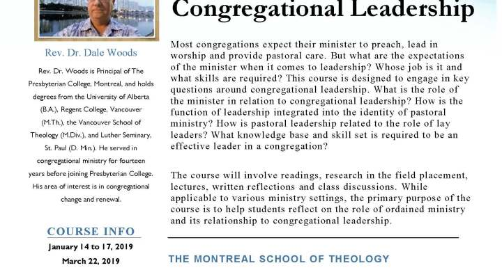 Winter 2019 Course: Congregational Leadership