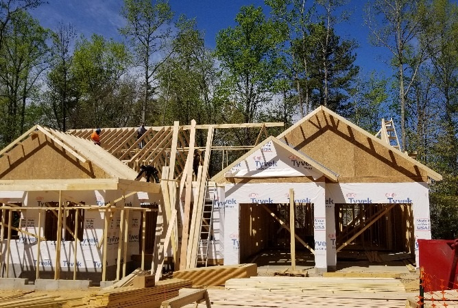 Framing at the City of Durham custom home