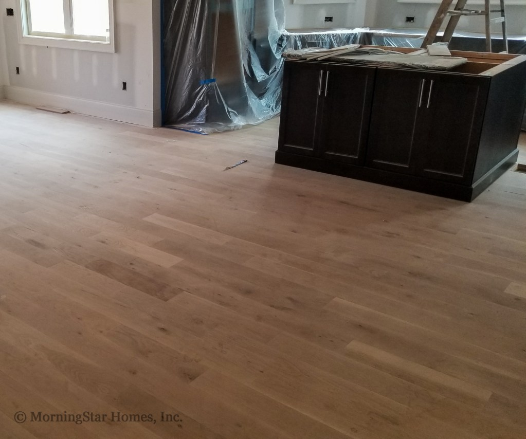 The white oak floors have finished