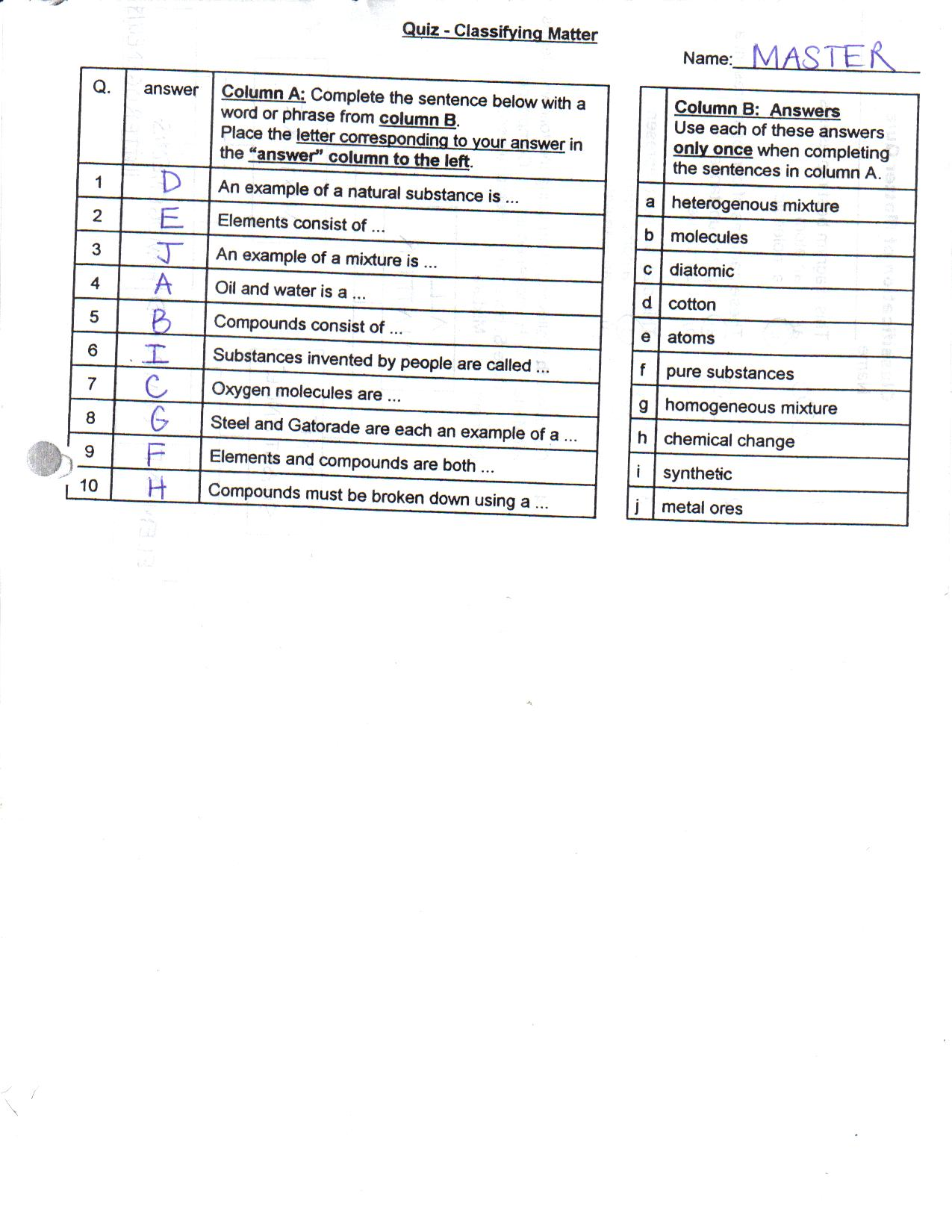 worksheet. Classification Of Matter Worksheet. Hate Mysql ...