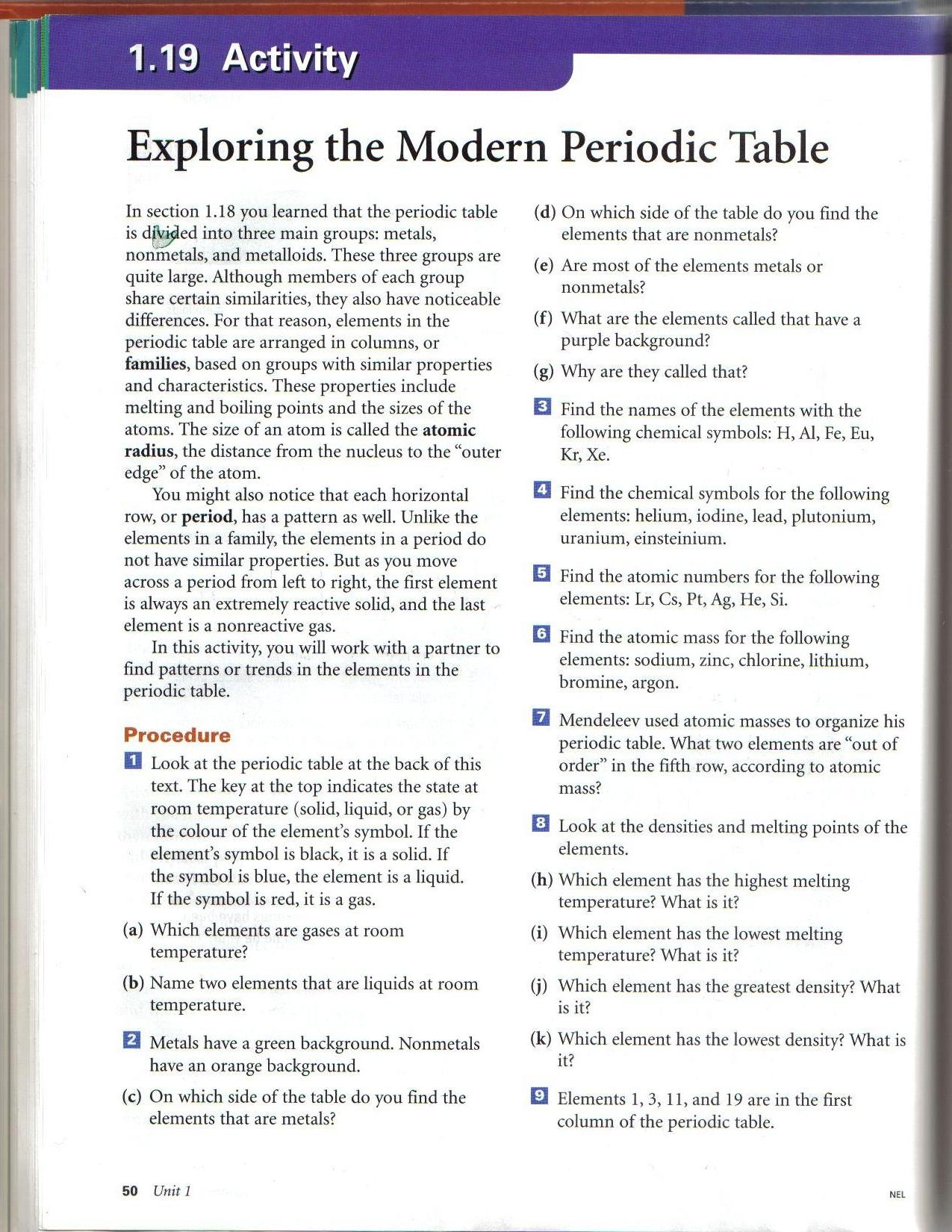 Exploring The Periodic Table Worksheet Answers