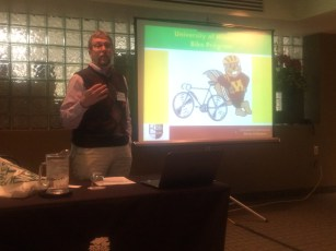 Steve Sanders, Alternative Transportation Mgr. from U of MN, Minneapolis, presenting the UMN bike story.