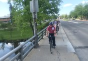 The group riding over the Bogue St. bridge which presents some unique safety challenges.