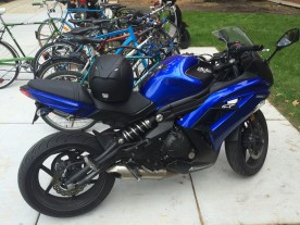 Another large street motorcycle in w/ the mopeds (W entry to Engineering)