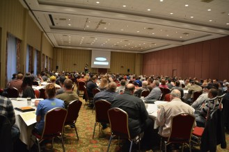 Photo of the large conference room filled with participants at the Hop and Barley Conference.