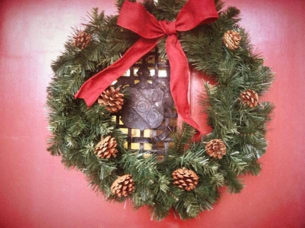 Alpha Gamma Delta took their holiday decorations out, check out their wreath!
