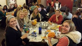 Pi Phi and Officer Amy carved pumpkins!