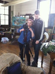 Brooke and Noah Kupcho take photos for the magazine at the couple's art studio. SUBMITTED PHOTO