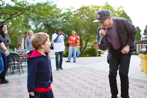 """Jordan """"Mic Jordan"""" Brien, a graphic communications senior, performs at the """"Take Back the Night"""" event Thursday on campus. The event was held to bring attention to sexual and dating violence prevention."""