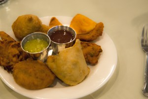 Mixed appetizer platter purchased for $9.95 at India Palace.