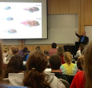 Biology professor Brian Wisenden talks about predator avoidance Wednesday in the Science Lab Building.