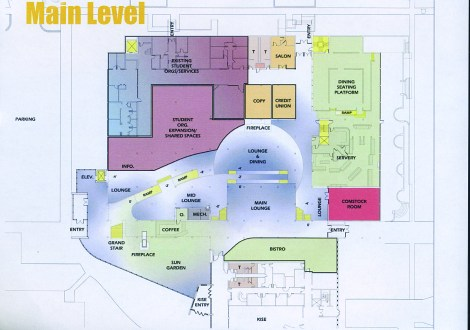 The pre-design floorplan for the main level in the CMU.