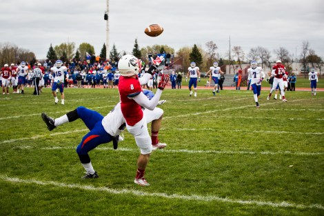 MSUM's Adam Jiskra attempts to catch a pass in the end zone in the Dragons' game against the University of Mary on Saturday. A back and forth game that went down to the wire went the Dragons' way, clinching their second win of the season.