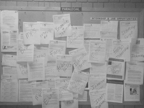 Job and internship opportunities clutter the paralegal board in the Center for Business.