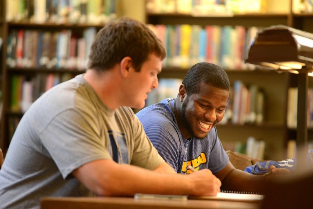 Student athletes studying