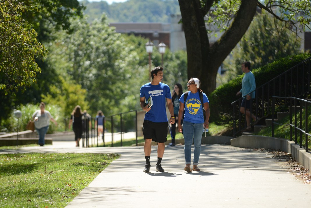 Students walking on Morehead State main campus
