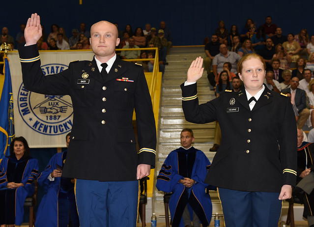 Cameron A. Back (19) of Nicholasville and Kylee Anne Hearne (19) of Sparta were commissioned as Second Lieutenants in the U.S. Army during commencement ceremonies on Saturday, May 11.