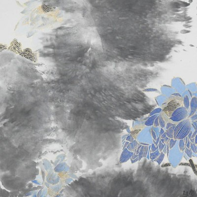 2011, ink and mineral pigments and gold on paper, frame size 83.75 x 27.75 inches