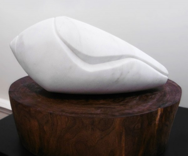 2015, Marble and Black Walnut, shell: 15.5 x 8 x 8 inches; base: 18 x 15 x 5.5 inches