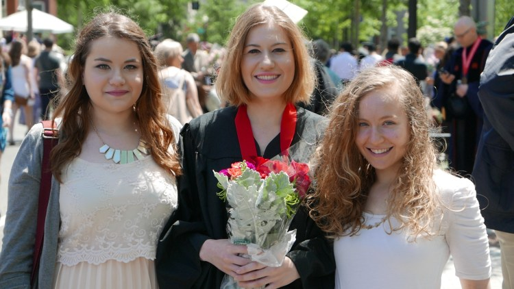 Matt Picture 1: Three Daughters at College Graduation