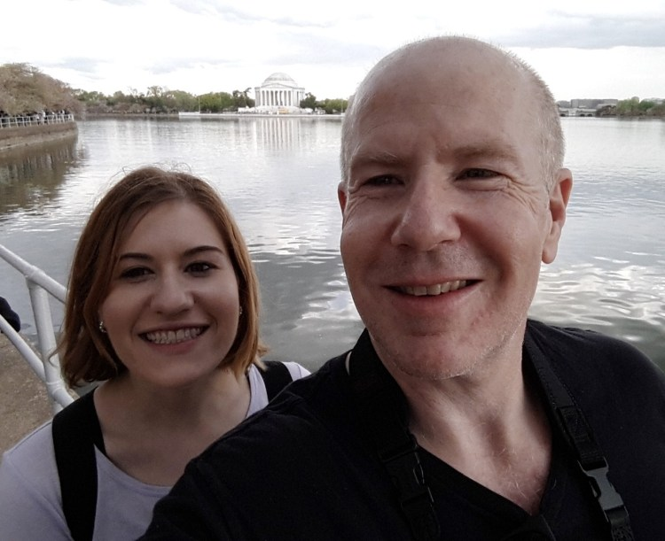 Matt Picture 2: Selfie with daughter in Washington DC and Jefferson Memorial
