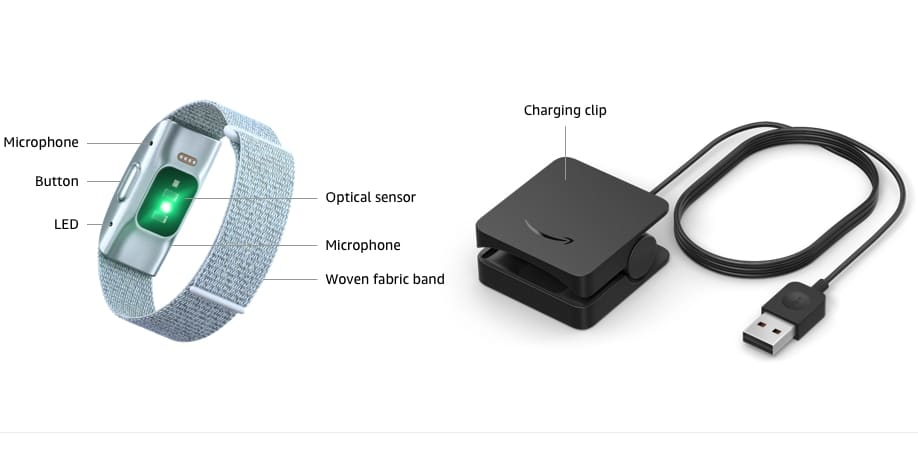 Amazon Halo Fitness Band and Charging Clip