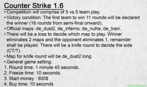 Competition Rules Counter Strike 1.6