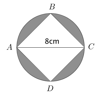 Shaded Area - Square Inscribed in a Circle